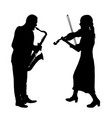 silhouettes a musician playing the violinon snd vector image vector image