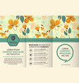 trifold brochure design template with floral vector image