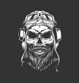 vintage bearded and mustached pilot skull vector image