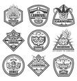 vintage monochrome venice carnival labels set vector image vector image