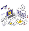 web hosting isometric composition vector image vector image