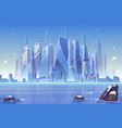 winter city skyline at frozen bay architecture vector image vector image
