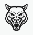 wolf head tattoo aggressive wild animal vector image vector image
