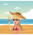 woman in beach vector image