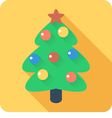 Christmas tree with balls icon flat design vector image