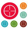 aim icons circle set vector image vector image