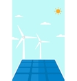 Background of solar panels and wind turbines vector image