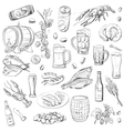 beer hand drawing set sketches vector image