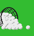 big basket with many golf balls green background vector image