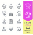 cake - line icon set editable stroke vector image vector image