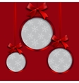 Card Red balls with bows and place for an vector image vector image
