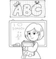 coloring image school teacher vector image vector image