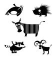 comic animal silhouettes vector image