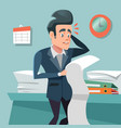 confused businessman with long to do list vector image
