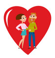 cool hipster couple in love isolated on vector image