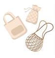 cotton reusable bags - zero waste concept vector image vector image