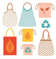 eco friendly grocery string bags flat set vector image