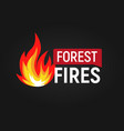 forest fires big flame with text flat logo vector image vector image
