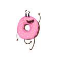 friendly doughnut character walking and waving vector image vector image