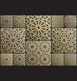 gold islamic art 3d pattern set pattern islamic vector image