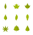 green leaf icons set flat style vector image vector image