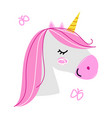 hand drawn unicorn head isolated on white vector image vector image