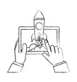 hand with mobile rocket launch success business vector image