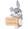 happy easter sign and lurking bunny vector image