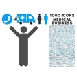 Happy Man Icon with 1000 Medical Business Symbols vector image vector image