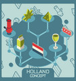 holland color concept isometric icons vector image vector image