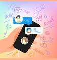 human gesture using modern smartphone say hallo vector image