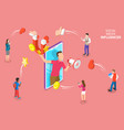 isometric flat concept social media vector image