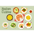 Italian cuisine pasta dishes with desserts icon vector image vector image