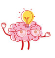 kawaii happy brain with bulb idea vector image