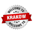 Krakow 3d silver badge with red ribbon vector image vector image