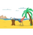 man freelancer on the beach vector image