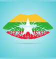 myanmar flag lipstick on the lips isolated on a vector image