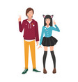 pair of boy and girl japanese anime and manga fans vector image vector image
