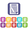 Paper and pencil icons set vector image