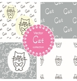 Patterns with cats vector image vector image