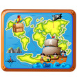 pirates in ship and adventure map vector image