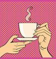 pop art hands with coffee cup vector image