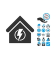 Power Supply Building Flat Icon With Bonus vector image vector image