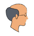 profile old man bald with glasses vector image