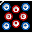 red and blue arrows eight directions vector image vector image