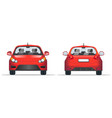 red car front and back view flat style template vector image