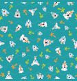 seamless pattern cute puppies with wavy lines vector image vector image