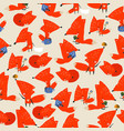 seamless pattern with cute foxes on gray vector image