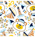 seamless pattern with funny sailor sailing vector image