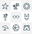 season outline icons set collection of sea star vector image vector image